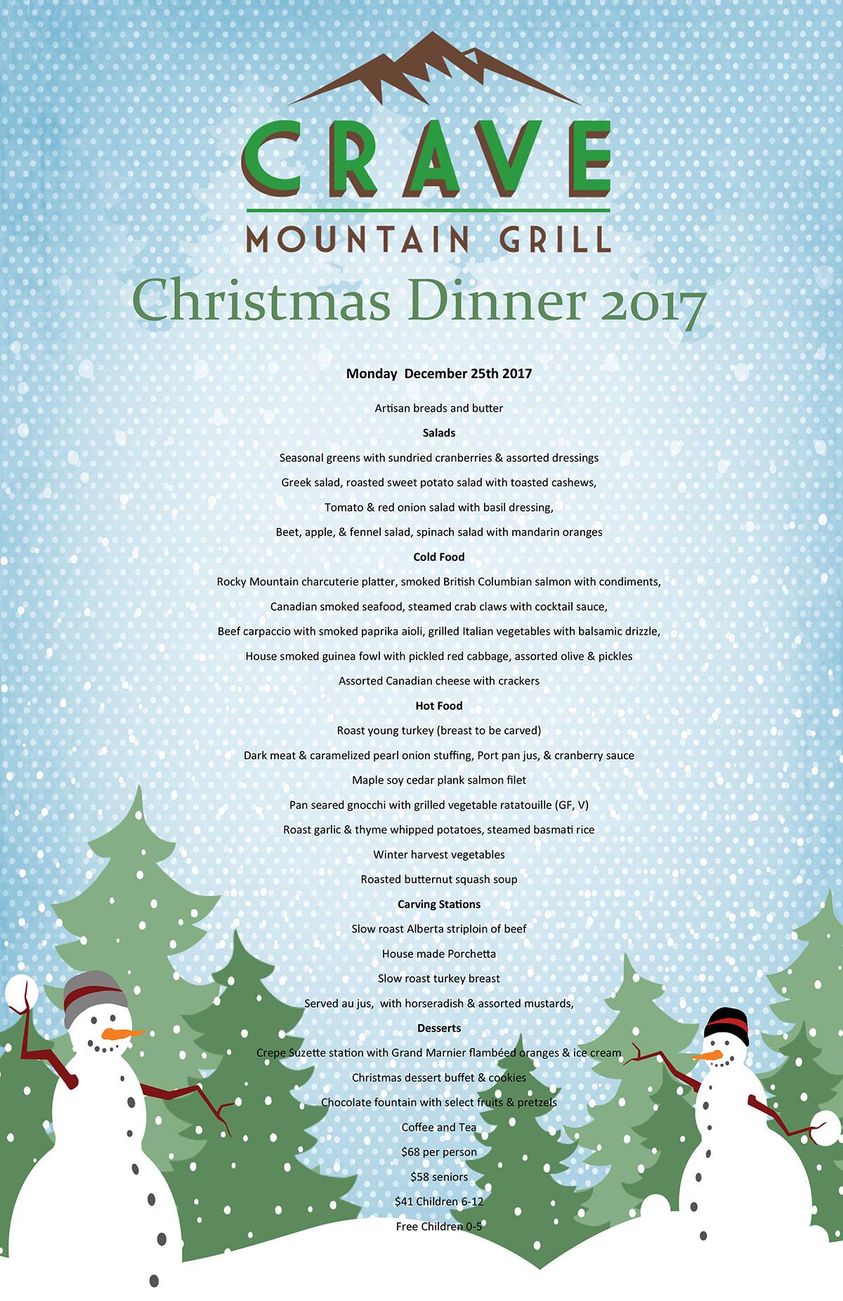 Gourmet Christmas Dinner Buffet. Menu Monday ...